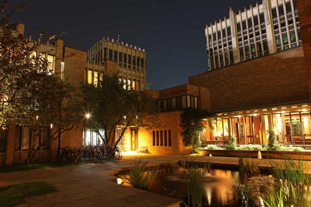 Massey College at night