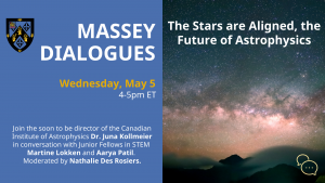 digital flier for Massey Dialogues on May 5. Astrophysics.